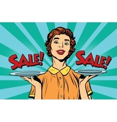 Woman sale on a tray vector
