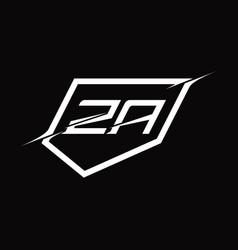 Za logo monogram letter with shield and slice vector