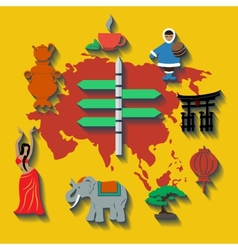 asia flat color travel vector image vector image