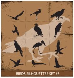 Birds silhouettes symbols black color vector image vector image