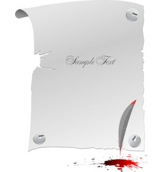 blank page feather and blots vector image vector image