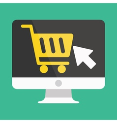 Computer Display Buy Online Icon Ecommerce vector image vector image