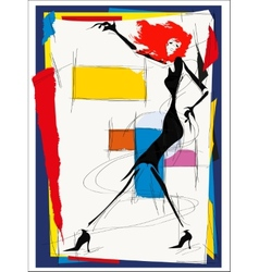 Fashion girl cubism vector