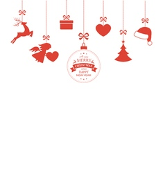 Hanging Christmas ornaments with ribbons vector image vector image