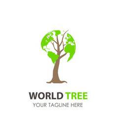Logo tree world design green eco leaf icon nature vector
