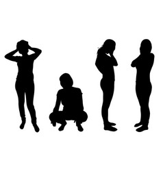 silhouettes of women in despair vector image vector image