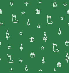 winter tree and sock green doodle seamless pattern vector image vector image