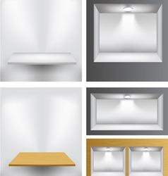 3d empty shelves vector image vector image
