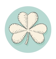 Icon clover for st patrick day in engraving style vector