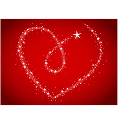 love bright stars in heart shape vector image vector image