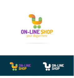on line shop logo set consisting of shopping cart vector image
