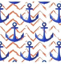 Print anchor blue navy pattern Chevron orange vector image vector image