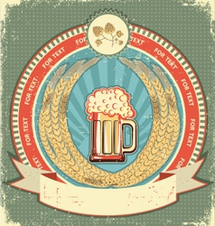 retro beer label vector image vector image