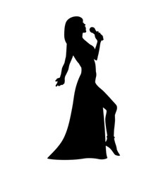 silhouette girl singing with a microphone vector image