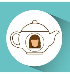 Tea pot coffee hot female blue background vector