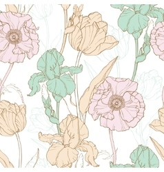 Vintage Flowers Pastel Seamless Repeat vector image