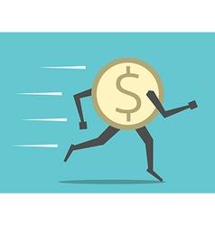 Dollar coin running vector image vector image