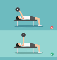 man wrong and right barbell bent press posture vector image vector image