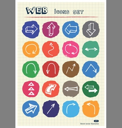 Arrows web icons set drawn by chalk vector image vector image