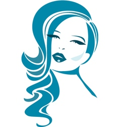 Beautiful girl with wavy hair and long eyelashes vector image vector image