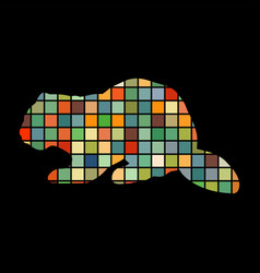 beaver wildlife color silhouette animal vector image vector image