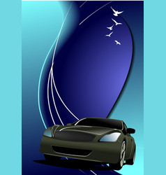 blue abstract background with car image vector image vector image