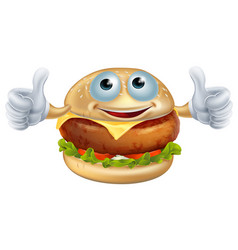 cartoon burger man vector image