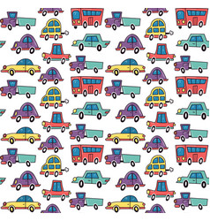 funny cars pattern vector image vector image
