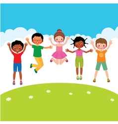 Group of happy jumping children vector image