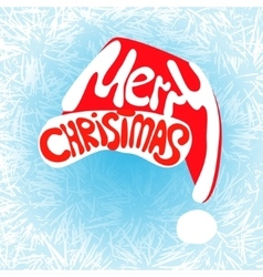 merry christmas hat lettering vector image