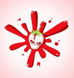 skull strawberries vector image vector image