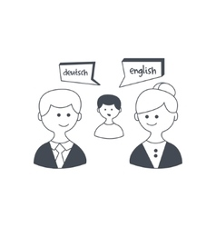 Synchronized Translation On Business Meeting vector image