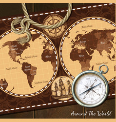 Vintage nautical map compass background vector