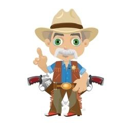Wise grandpa cartoon character in Wild West vector image vector image