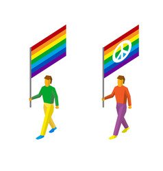 3d standard bearers with rainbow lgbt flags vector