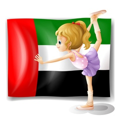 A ballet dancer in front of the UAE flag vector image