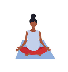 A pregnant woman is sitting in lotus position vector