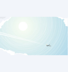 abstract of plane among clouds vector image
