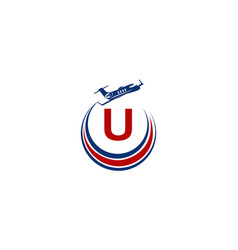 Airplane logo initial u vector