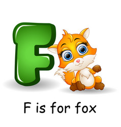 Animals alphabet f is for fox vector