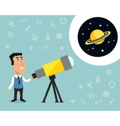 Astronomer with telescope print vector