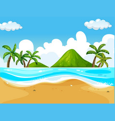 background scene with beach and ocean vector image
