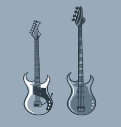 Bass and solo guitars monochrome tattoo style vector