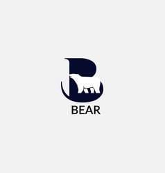 Bear abstract b letter with modern emblem vector