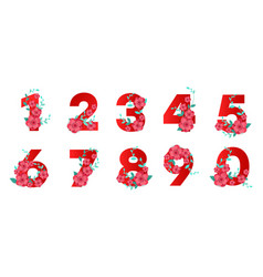 beautiful floral eco numbers vector image
