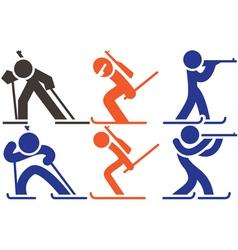 Biatlon icons vector image