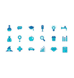 big set icons smart city blue icon filled vector image
