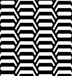 Black and white striped vertical hexagons vector