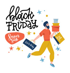 black friday guy runs to store on sale male vector image