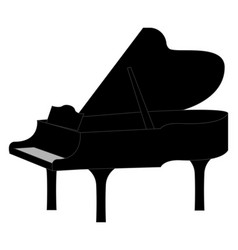 black piano on white background vector image